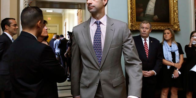 """Arkansas Republican Sen. Tom Cotton unloaded on Rep. Alexandria Ocasio-Cortez's Green New Deal and said the media were """"complicit"""" in burying the most radical parts of the deal.<br>"""