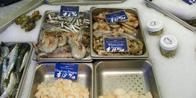 Aug.17, 2010: Seafood for sale at the Hapuku Fish Shop in Oakland, Calif (AP).
