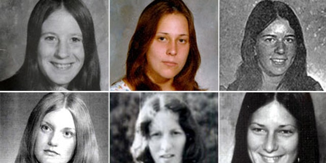 The victims of the Gypsy Hill killings. From top left to right, Veronica Ann Cascio, 18, Tanya Blackwell, 14, and Paula Baxter, 17. From bottom left to right, Michelle Mitchell, 19, Carol Lee Booth, 26, and Denise Lampe, 19.