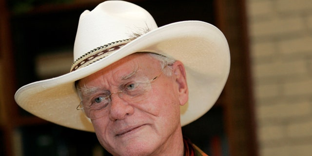 Oct. 9, 2008: Actor Larry Hagman listens to a reporter's question while visiting the Southfork Ranch in Parker, Texas.