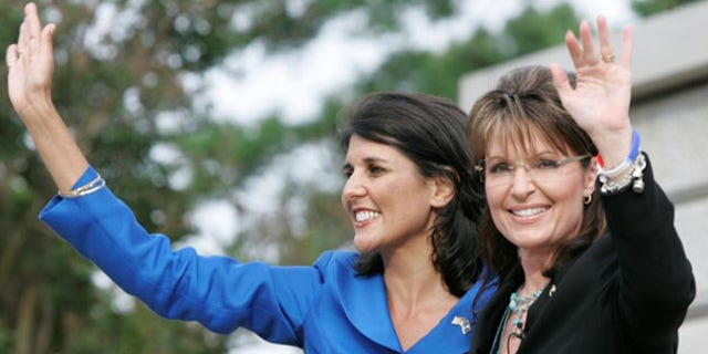 Former Alaska Gov. Sarah Palin waves as she endorses S.C. gubernatorial candidate Nikki Haley May 14 in Columbia, S.C. (AP Photo)