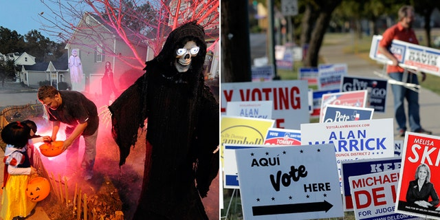 File photos of Halloween trick-or-treating and an early voting polling site.