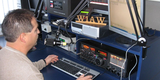 Nov. 16, 2011: Joe Carcia mans the mic at W1AW at the American Radio Relay League Headquarters in Newington, CT.