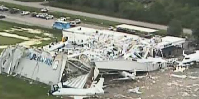 No one was injured in the collapse, but a spokesman for the airport estimated the damage to be in the millions.