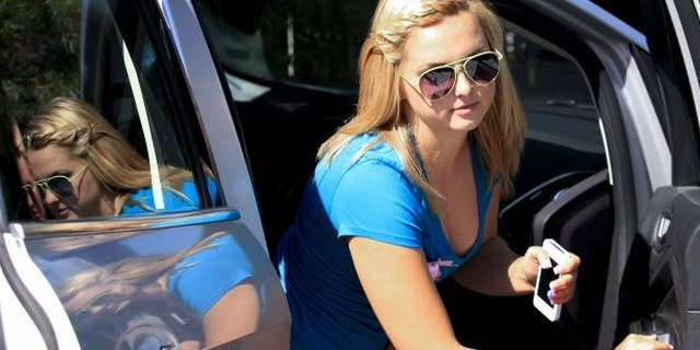 Aug. 15, 2013: Hannah Anderson arrives at the Boll Weevil restaurant for a fundraiser in her honor to raise money for her family, in Lakeside, Calif.