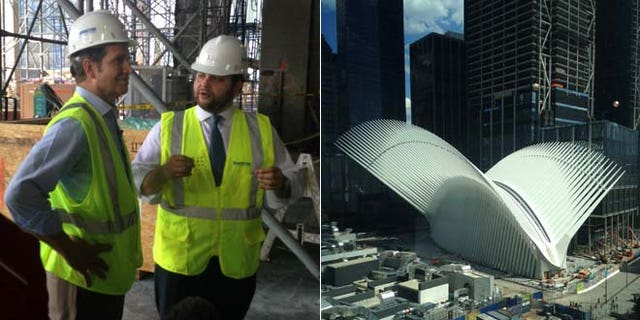 Scott, at left talking with a construction official, investigates the rebuilding of Ground Zero.