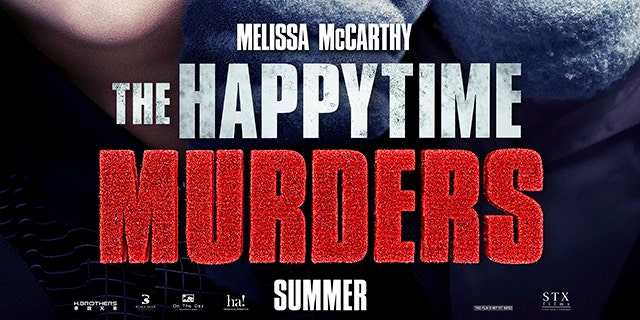 """The poster art for """"The Happytime Murders,"""" a film starring Melissa McCarthy."""