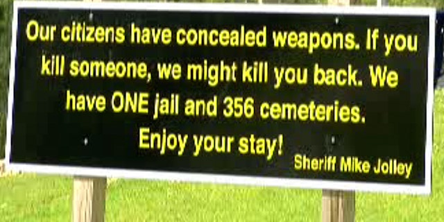 Sheriff Mike Jolley's new sign has gone viral for its concealed carry message to visitors.