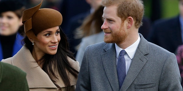 Prince Harry and his fiancee Meghan Markle arrive to attend the traditional Christmas Day service, at St. Mary Magdalene Church in Sandringham, England, Monday, Dec. 25, 2017.