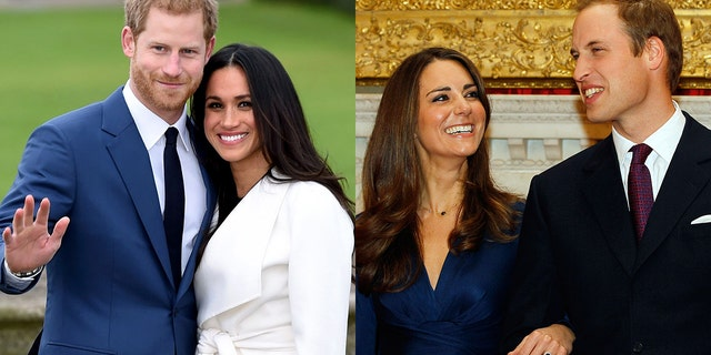 On the left, Prince Harry and Meghan Markle pose for the media in the grounds of Kensington Palace in London, Monday Nov. 27, 2017. On the right, Prince William and his then-fiancee Kate Middleton posed for the media at St. James's Palace in London, after they announced their engagement on Nov. 16, 2010.