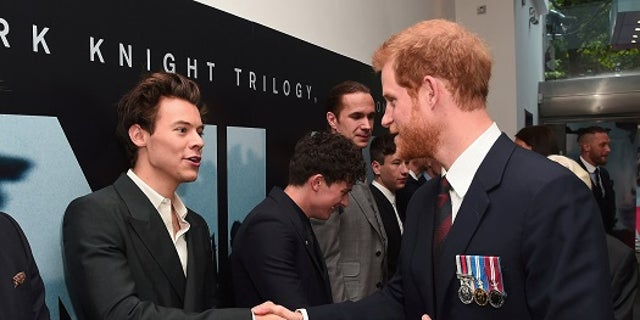 """Actor/singer Harry Styles and Prince Harry meet at the """"Dunkirk"""" World Premiere at Odeon Leicester Square on Thursday, July 13, 2017."""
