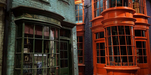 Diagon Alley storefronts from the set of the Harry Potter films are seen at the Warner Bros. Studio in Leavesden.