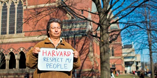 Adrián Obregón, a Guaraní farmer and community leader from Argentina, met with students, workers, and administrators at Harvard's campus in April 2014 about the impacts of the Harvard endowment fund's investments on his community.