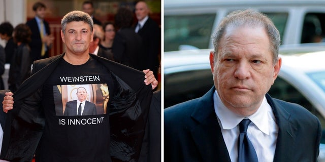"Italian director Luciano Silighini Garagnani, left, wore a ""Weinstein is innocent"" shirt at a film premiere Saturday. Harvey Weinstein, right, is accused of several sex assaults."