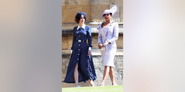Abigail Spencer and Priyanka Chopra arrive at the wedding.