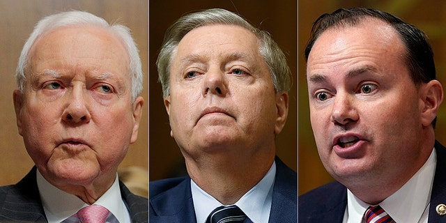 Orrin Hatch, Lindsey Graham and Mike Lee (left to right) all had their personal information published online