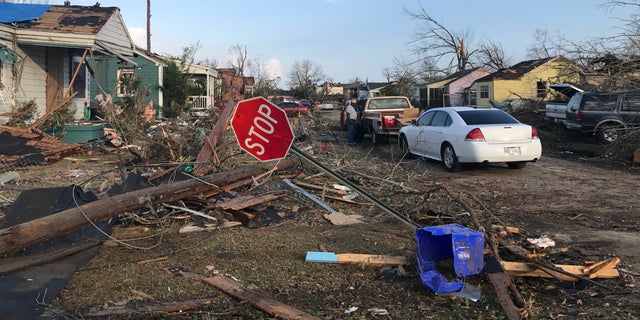 Damage and debris in Hattiesburg.