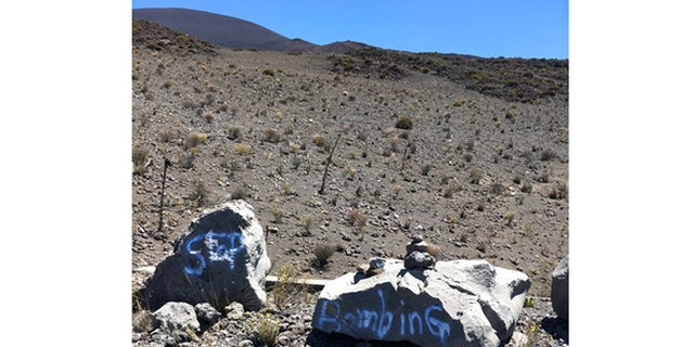 Authorities found graffiti within a protected area on one of Hawaii's most revered mountains.