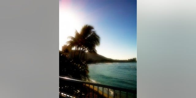 Our view of Diamond Head from the balcony where the White House press corps is working while President Obama is on vacation (photo by Eve Zibel)