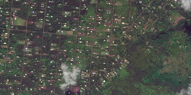 This photo from May 24, 2017 shows the southeast area of the Leilani Estates neighborhood, near Pahoa, Hawaii before volcanic activity caused fissures to open up in the area.