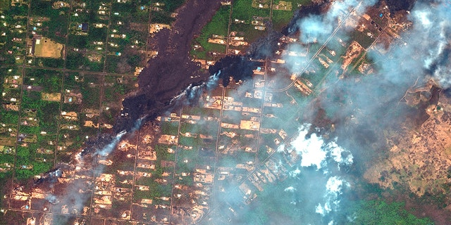 This photo from May 23, 2018 shows the southeast area of the Leilani Estates neighborhood, near Pahoa, Hawaii after volcanic activity caused fissures to open up in the area.