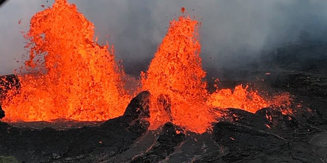 Lava shoots to 150 feet in the air from Fissure 22 on Monday during ongoing eruptions in Hawaii.