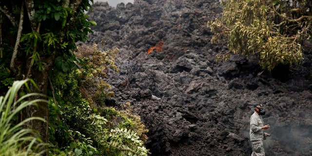 The 20-foot lava wall was seen after active flows from fissures dumped the molten rock in neighborhoods.