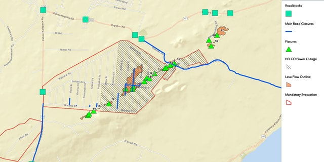 A map showing the location of the volcanic fissures on Hawaii's Big Island as of Tuesday morning.