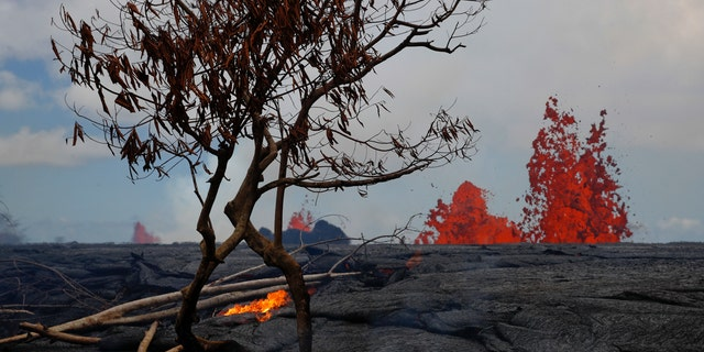 Lava erupts from fissures in the Leilani Estates subdivision near Pahoa, Hawaii, Tuesday, May 22, 2018.