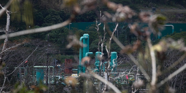 A geothermal plant is seen from the Leilani Estates subdivision near Pahoa, Hawaii, Tuesday, May 22, 2018.