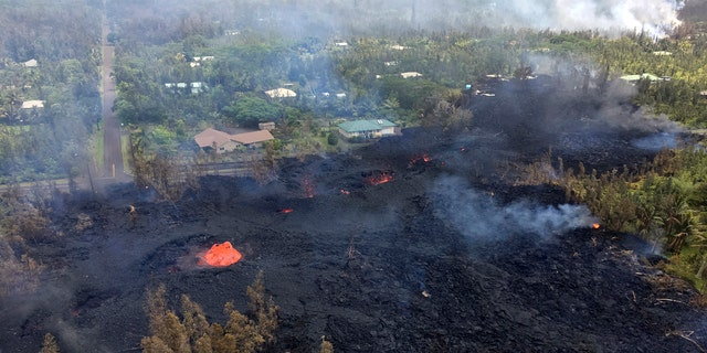 Fissure 7 in Pahoa, Hawaii is seen from above on May 5.