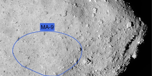 The MA-9 site on the asteroid Ryugu, where the Hayabusa2 spacecraft's MASCOT lander will touch down on Oct. 3, 2018.