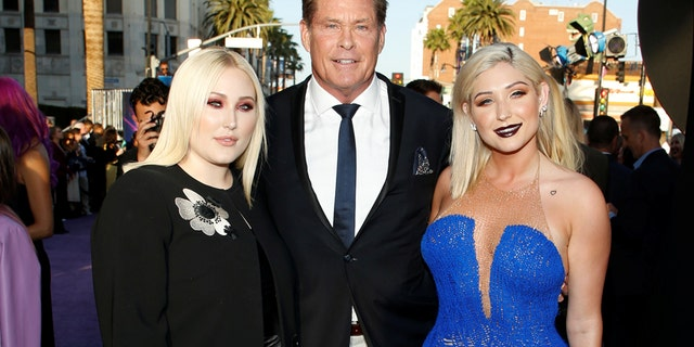 "Actor David Hasselhoff (C) poses with his daughters Hayley Hasselhoff (L) and Taylor Ann Hasselhoff (R) at the world premiere of Marvel Studios' ""Guardians of the Galaxy Vol. 2."" in Hollywood, California, U.S. Wednesday, April 19, 2017."