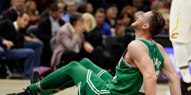 Celtics player Gordon Hayward broke his ankle during the 2017 season opener. (AP)
