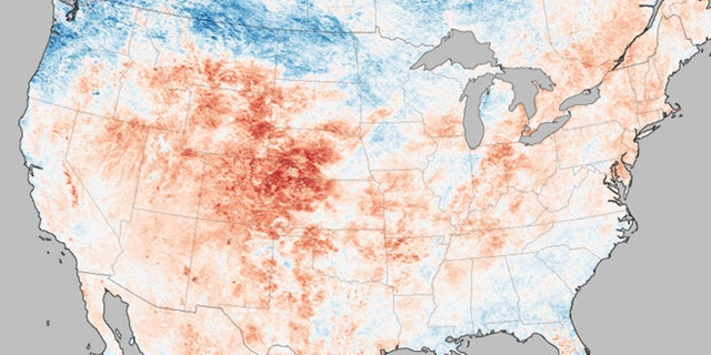 This map shows the heat wave currently sweeping across the United States with temperatures taken by a NASA satellite on June 26, 2012.