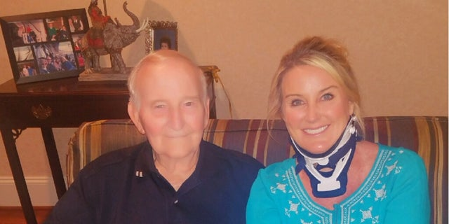 Heather and her dad recovering at home in North Carolina.