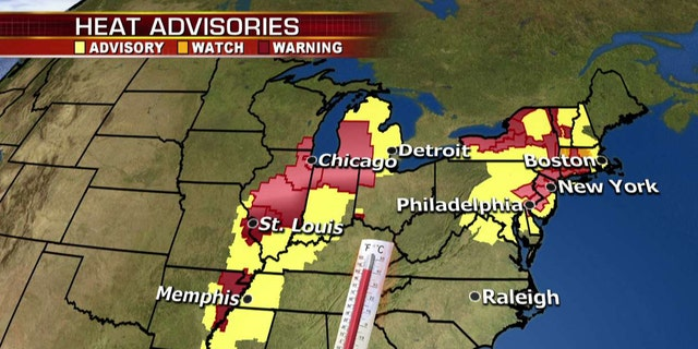 A widespread heat weave has sparked advisories and warnings from the Midwest to the Northeast.