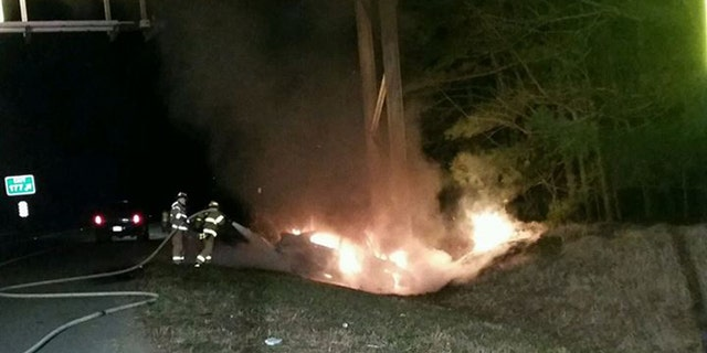 Firefighters at scene of crash on I-64. (Henrico County Division of Fire)