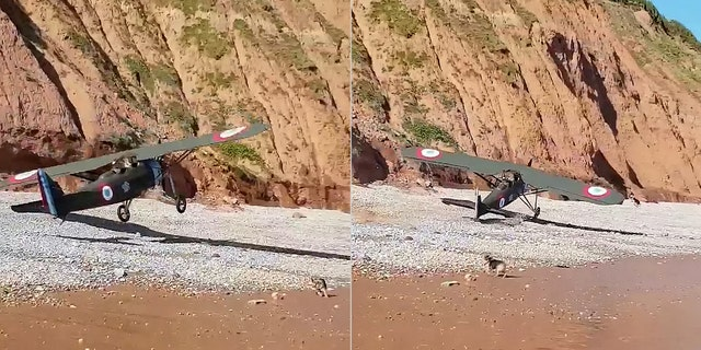 Just before landing, Zac Rockey and passenger Trudi Spiller frantically tried to warn beach-goers to move out of the way.