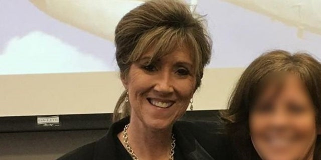 Southwest pilot Tammie Jo Shults, left, pictured at her alma mater MidAmerica Nazarene where she graduated in 1983. Shults was praised for landing the Dallas-bound Flight 1380 Tuesday after one of its engines blew mid-air at 32,000 feet.
