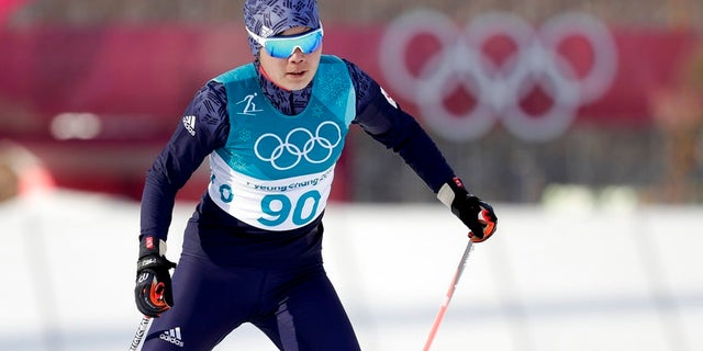 Yong Gum Ri, of North Korea, competes during the women's 10km freestyle cross-country skiing competition at the 2018 Winter Olympics in Pyeongchang, South Korea