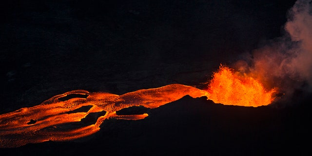 Lava flow from Fissue 8 is emitting dangerous gasses, officials say.