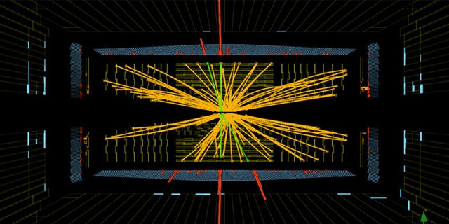 Real CMS proton-proton collisions events at the Large Hadron Collider in which 4 high energy electrons (red towers) are observed. The event shows characteristics expected from the decay of a Higgs boson but is also consistent with background Standard Model physics processes.
