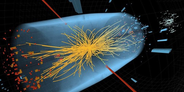Associated Press/CERN - This undated image made available by CERN shows a typical candidate event including two high-energy photons whose energy (depicted by red towers) is measured in the CMS electromagnetic calorimeter. The yellow lines are the measured tracks of other particles produced in the collision. The pale blue volume shows the CMS crystal calorimeter barrel.