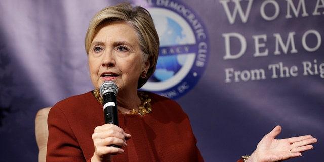 Former U.S. Secretary of State and 2016 Democratic presidential nominee Hillary Clinton speaks in Washington, Nov. 2, 2017.
