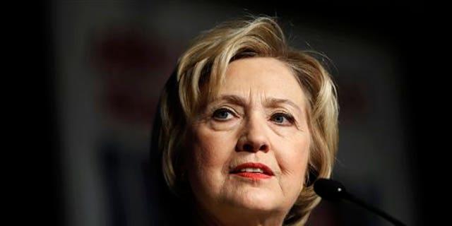 FILE -- April 6, 2016: Democratic presidential candidate Hillary Clinton speaks at the Pennsylvania AFL-CIO Convention in Philadelphia. (AP Photo/Matt Rourke)