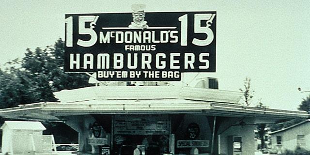 McDonald Brother's store in San Bernadino, California with a 15-cent hamburger sign.