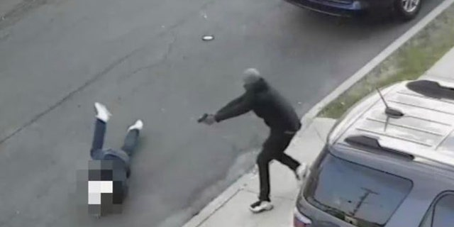 Image from video showing shooting victim Salvatore Zottola, 41, attempting to escape a gunman.