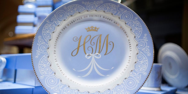 Harry and Meghan royal china on display in London.