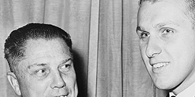 James R. Hoffa (left) with his son, James P. Hoffa, at a testimonial dinner in 1965.